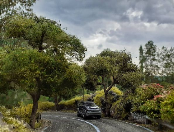 A diorama of a road side made by Bunga Meisari