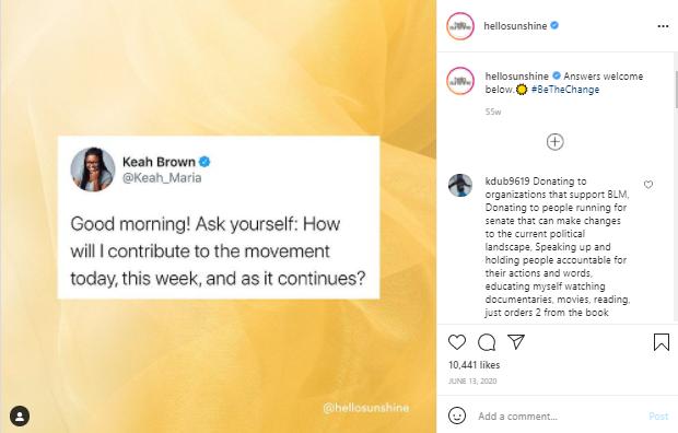 Hello Sunshine cue posts to invite responses