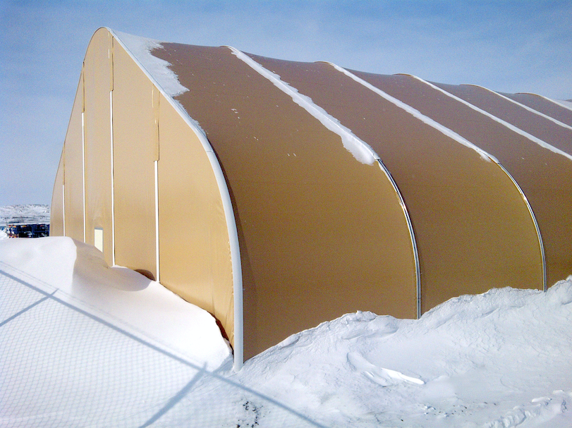 Alaska Structures' fabric building serving as a cement storage facility.