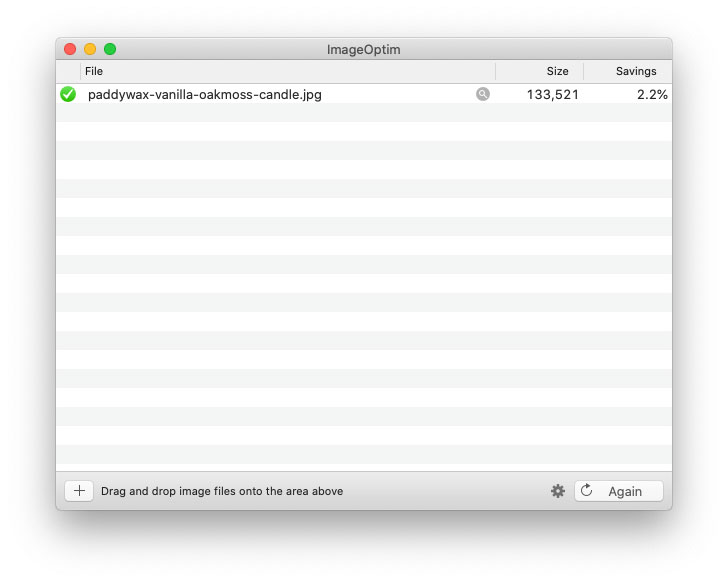 ImageOptim screenshot showing 2.2% size savings