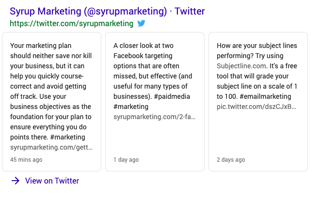 Example of Twitter on Google search results to help you use Google to tell your story