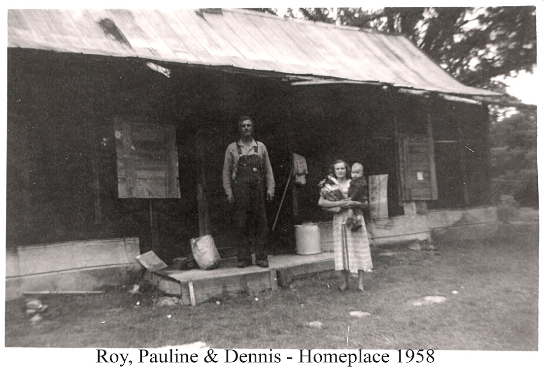 Roy & Pauline w Dennis Homeplace 1958-sml.png