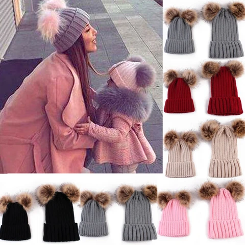 Matching Winter Knit Hats Mother And Baby