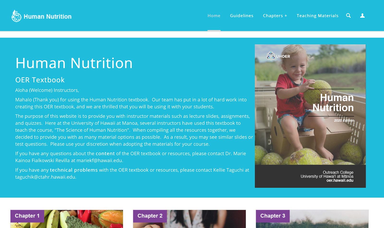 Landing page of OER course on human nutrition