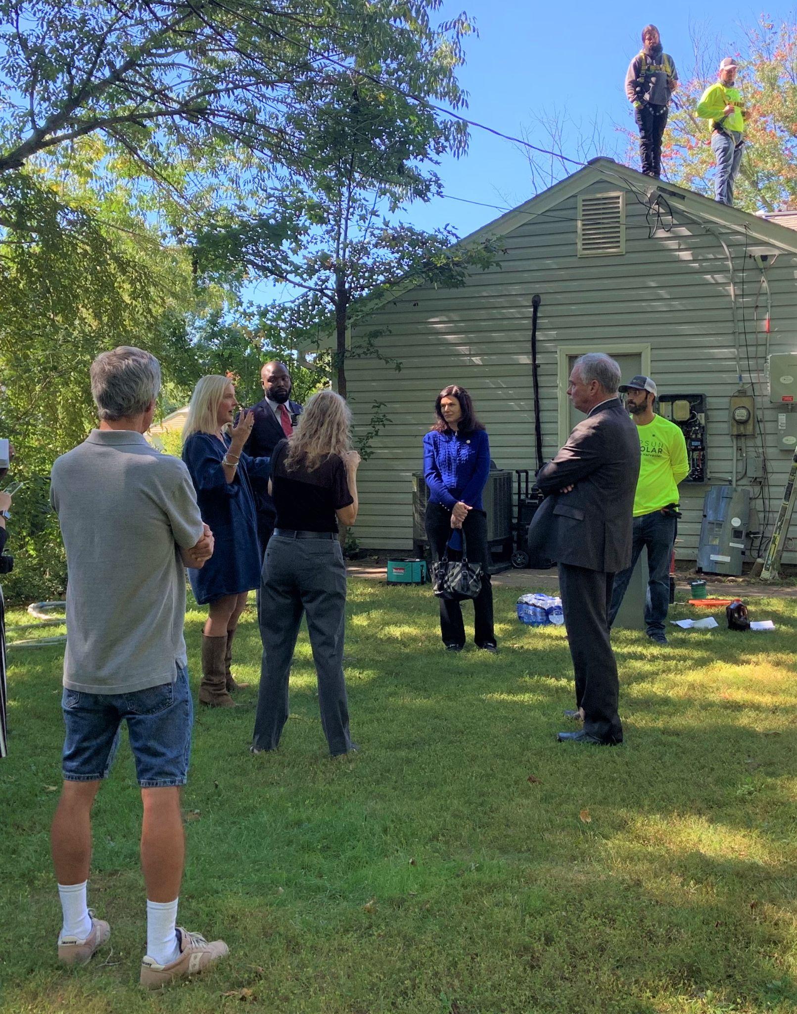 Delegate Karrie Delaney talks solar with Senator Tim Kaine
