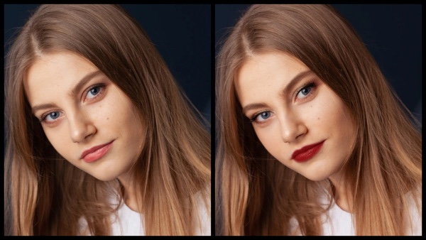 Antes e depois da foto de uma mulher loira onde uma das fotos está com a maquiagem Glitz do AirBrush