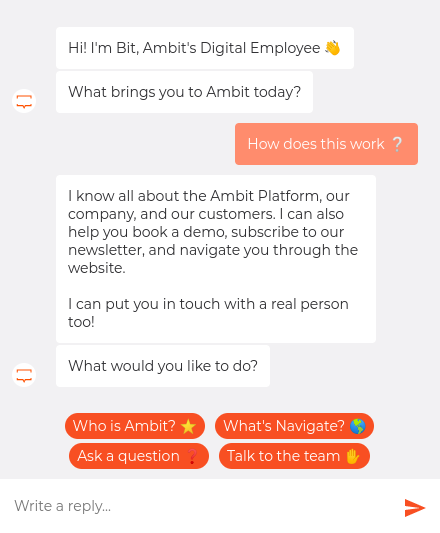 sample chat from ambit.