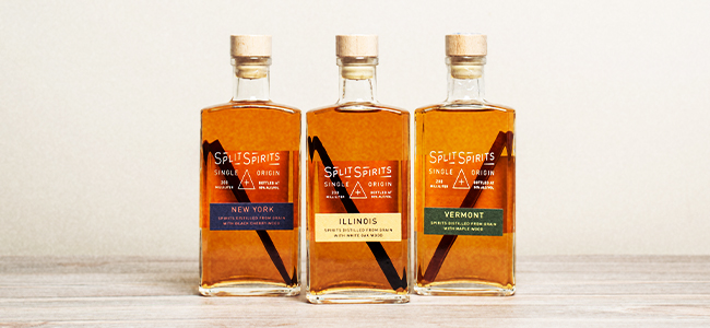 Three Bottles of Split Spirits' Craft Grain Spirits