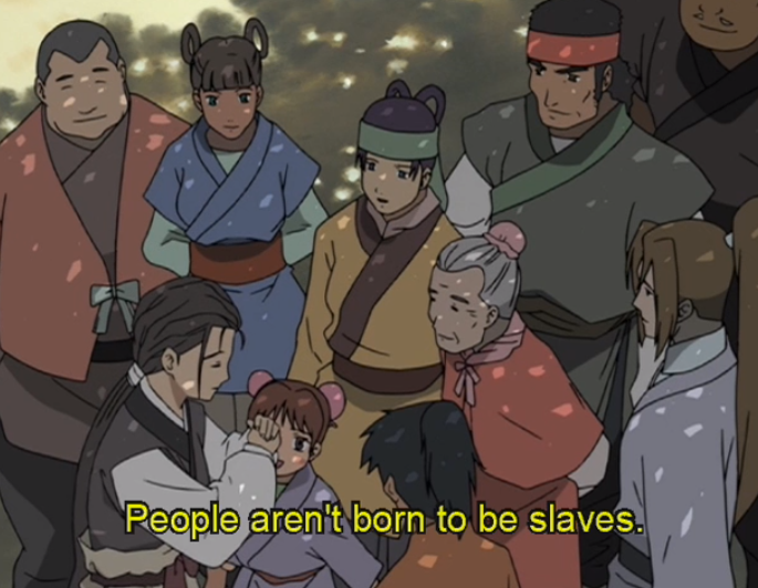 "A group of Twelve Kingdoms citizens facing each other. Subtitles read ""People aren't born to be slaves."""