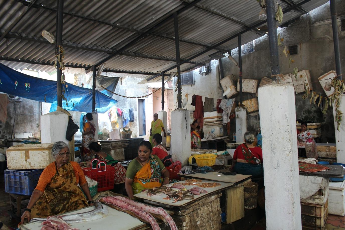 women selling fish at a local fish market in Dharavi