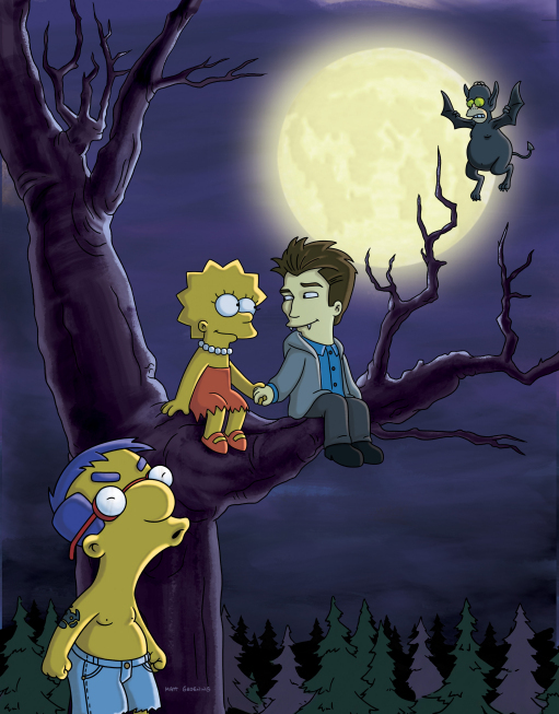 "Photo of Lisa from ""The Simpsons"" in a tree with a vampire and a werewolf under a full moon."