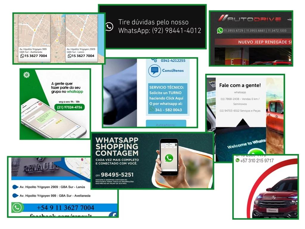 Ejemplos de números de WhatsApp en gráficas, folletos y publicidades