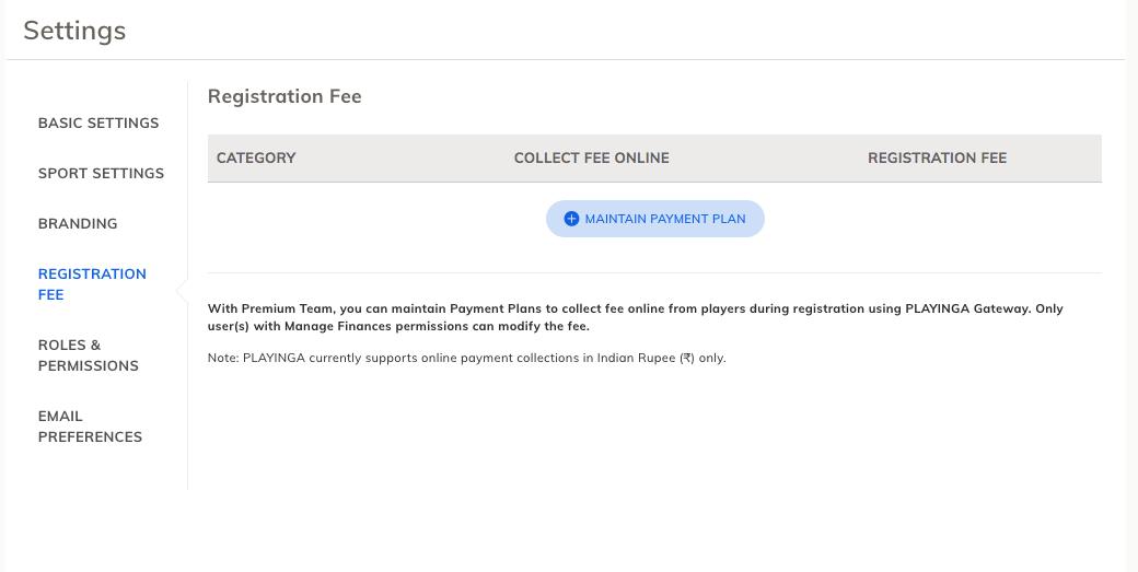 Team Registration fee