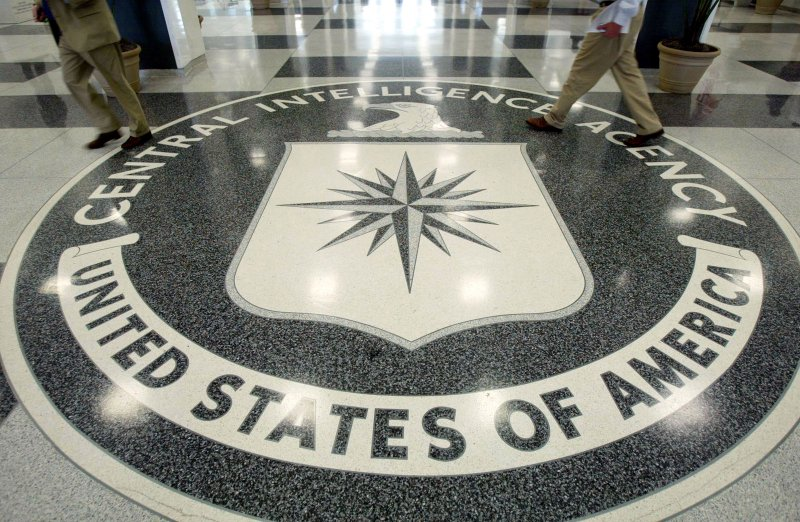 The CIA symbol is shown on the floor of CIA Headquarters in Langley, Virginia.