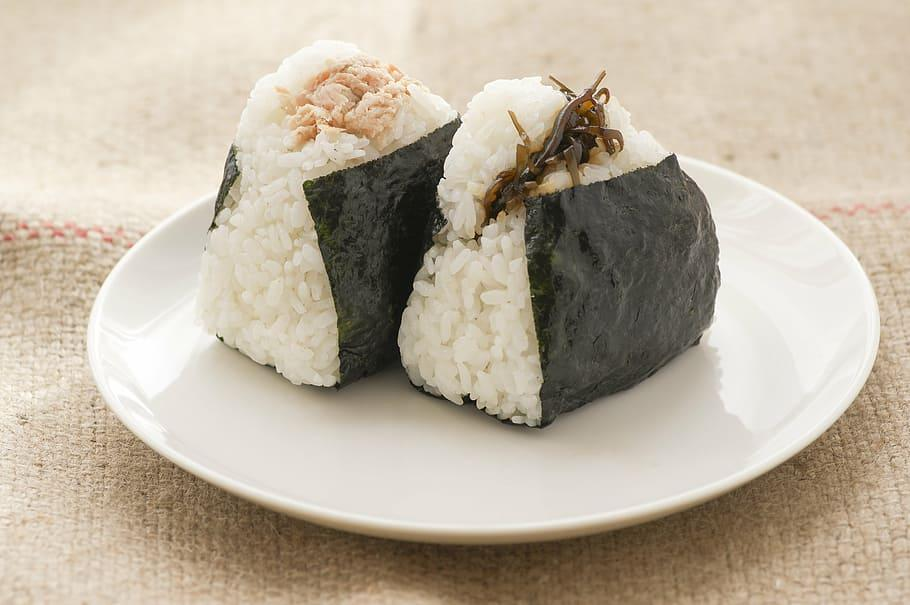 ound, white, plate, rice, rice ball, food, diet, japan, japanese food, salmon