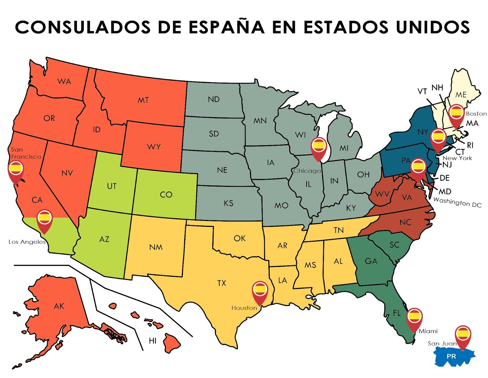 A map with the consular jurisdictions of the nine Consulate General of Spain in the United States of America