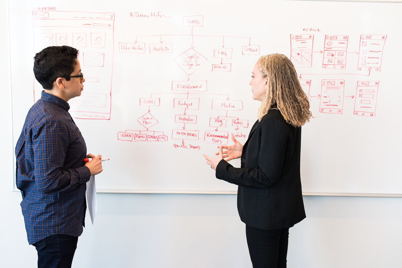 Two people work on a UI/UX flowchart