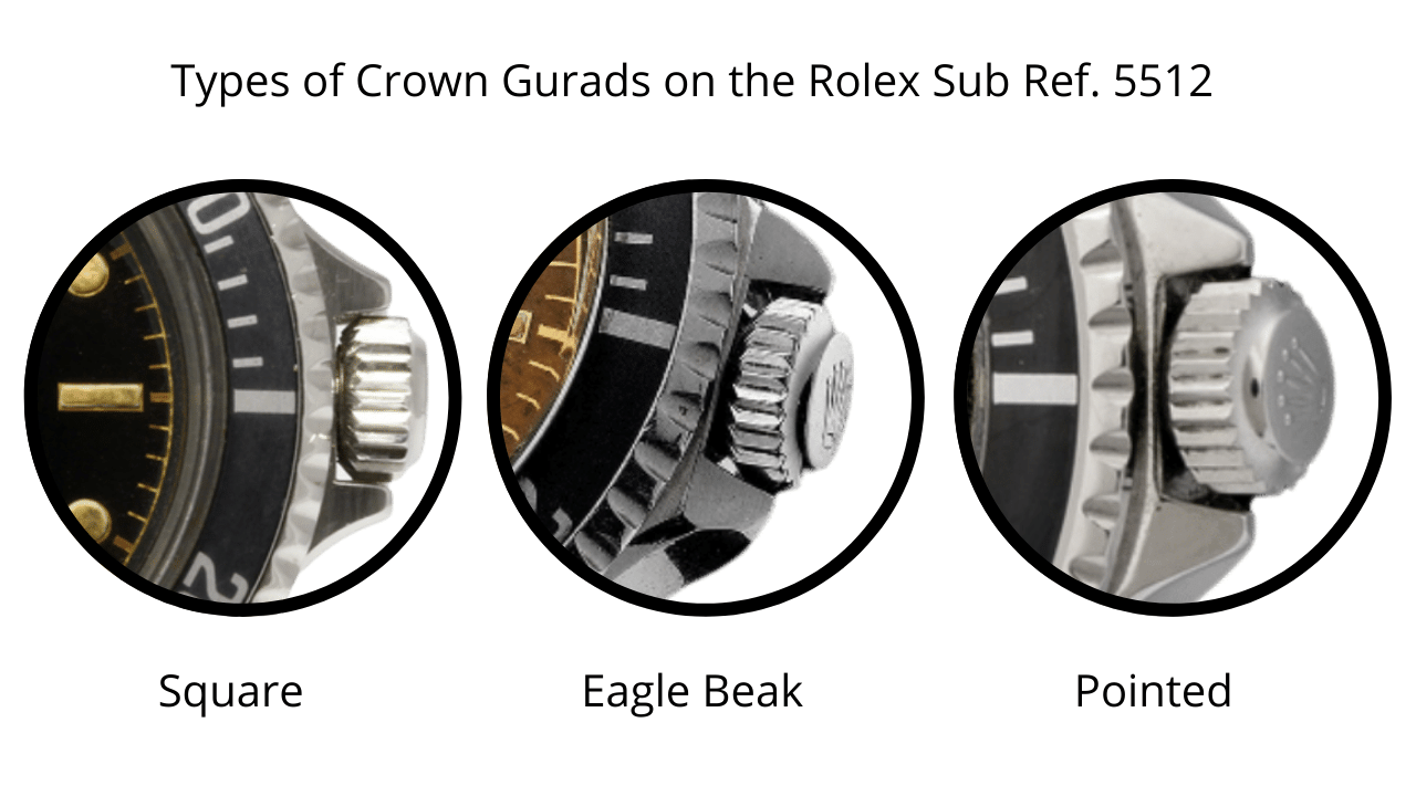 Three photos outlining the crown Rolex submariner crown guards: Square, Eagle Beak, and Pointed crown guards.
