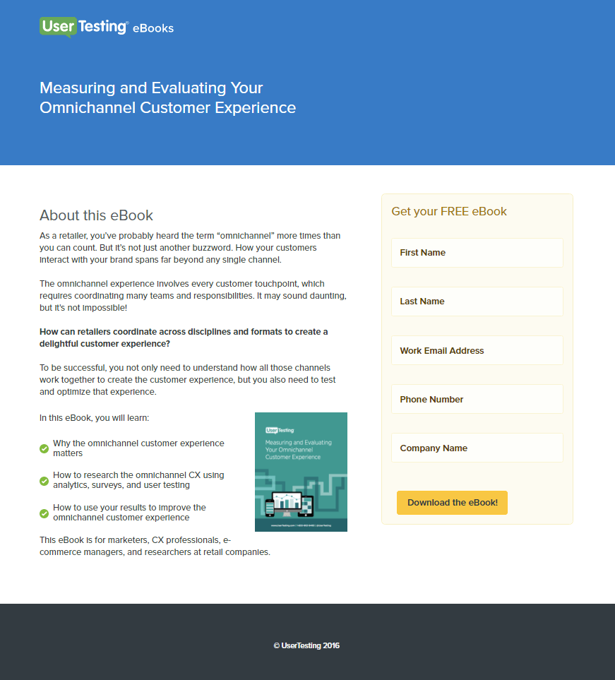 Great landing pages UserTesting