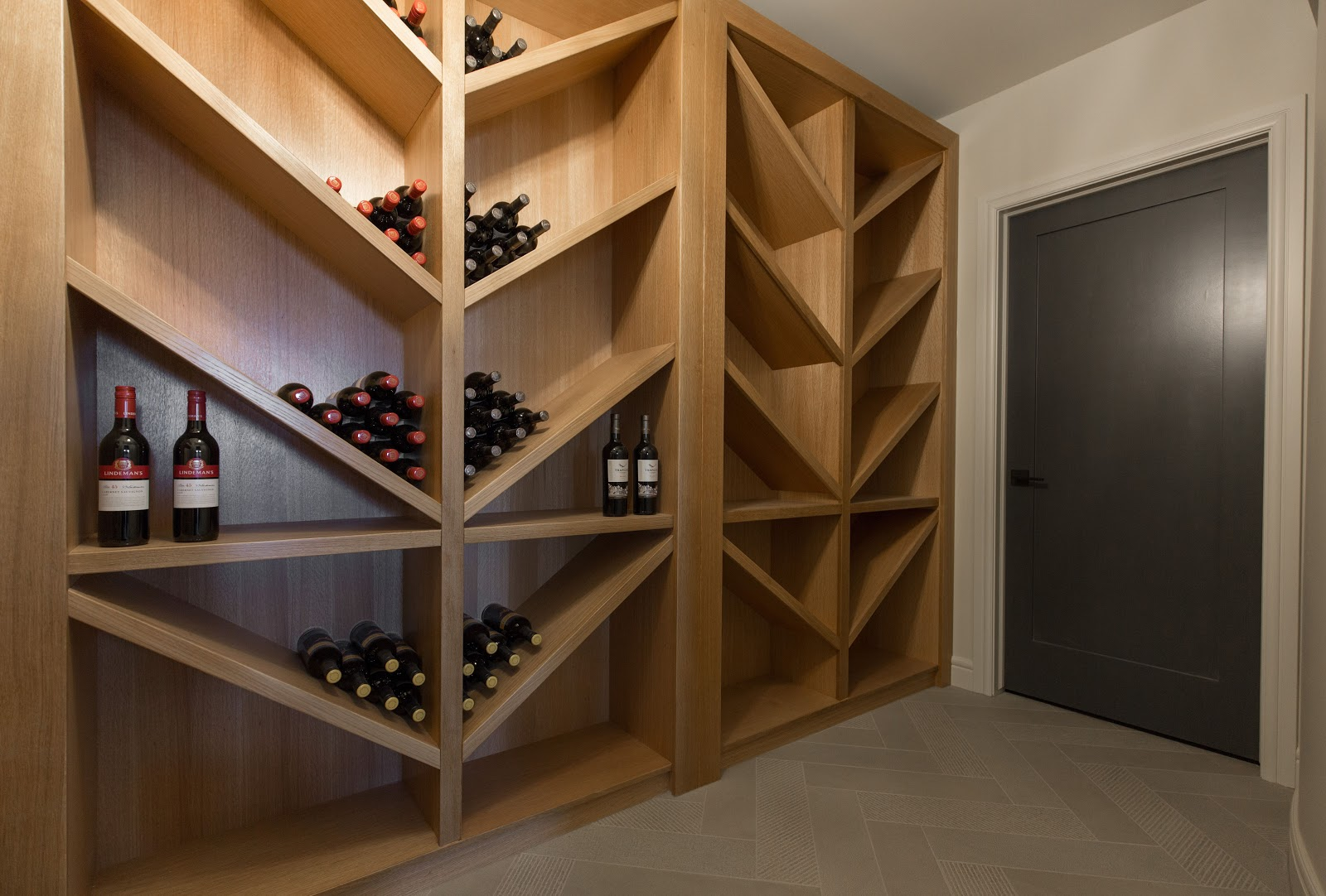 custom designed wine cellar diagonal shelving creative classic vacation home calgary