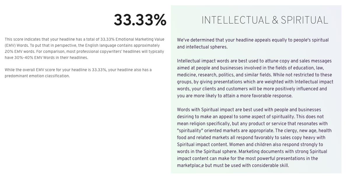 EMV headline analyzer blog writing tool