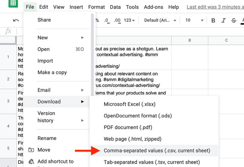 menú de archivo de hoja de Google resaltando la opción para descargar con la opción de valores separados por comas anotada