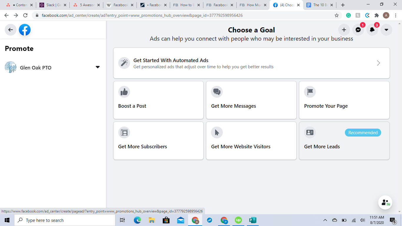 Decide on a goal for your Facebook ads.