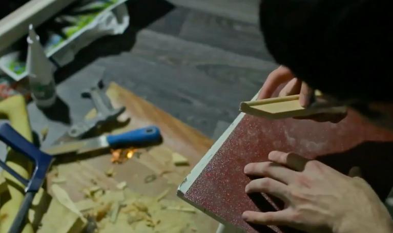 cut the wood at an angle