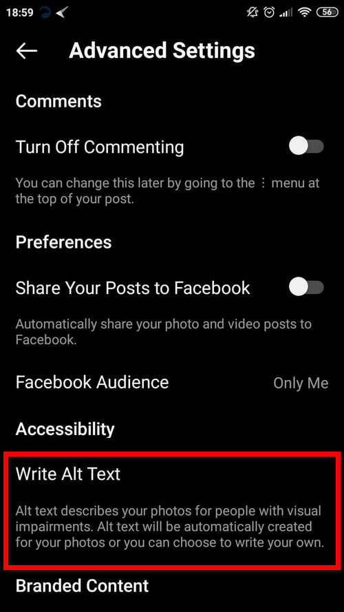 how to access the alt text feature on Instagram