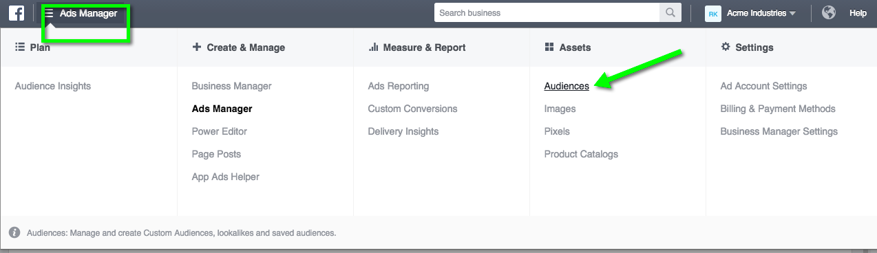 Go to your Audiences tab in Ads Manager