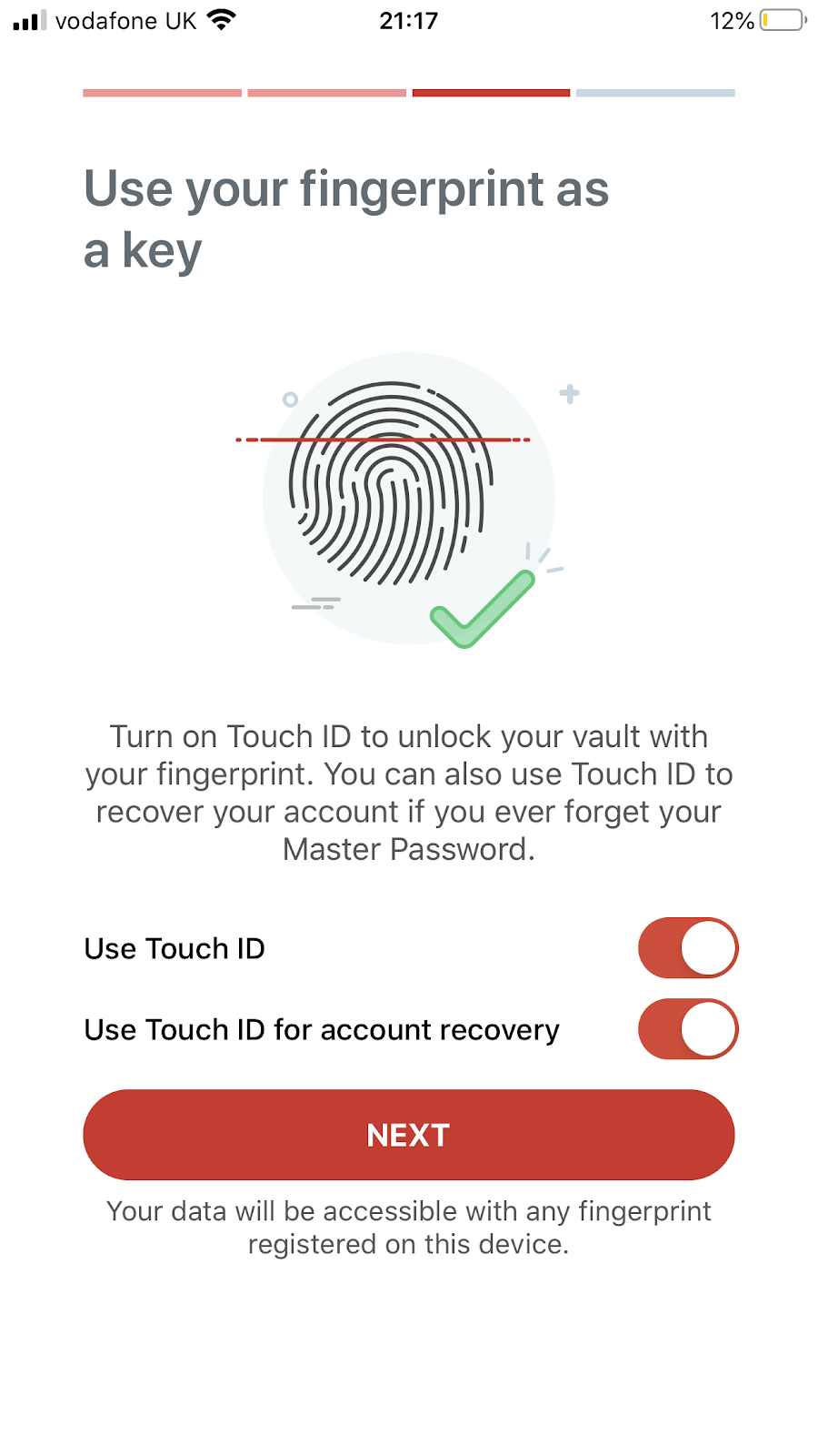 Using fingerprint instead of password in LastPass password manager app in iPhone. Part of the article by Hana Clode Marketing 'LastPass Password Manager - Apps to Make Your Life Easier'.