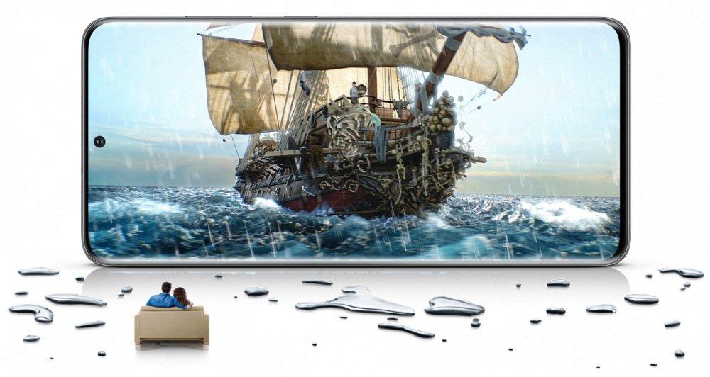 Безрамочный дисплей в смартфоне Samsung Galaxy S20 Red