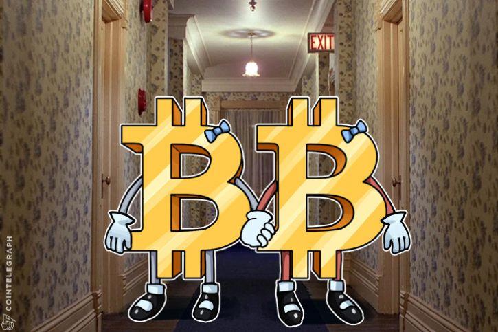 Bitcoin twins in a corridor