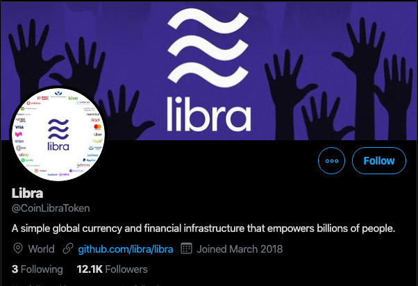 Screengrab of the Twitter account responsible for the Libra ICO scam