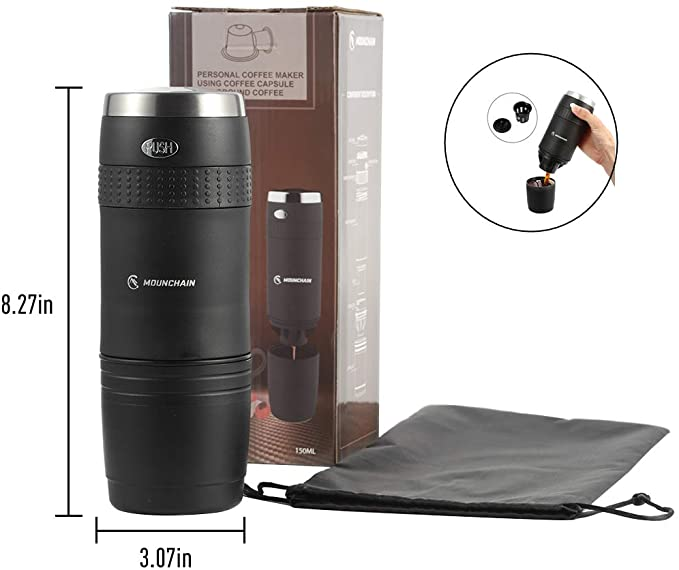 Portable Travel Coffee Maker, Single Cup Mini Electric Coffee Machine, Battery Pumped, No Manual Operation, Perfect for Tiny Kitchen, Office Use or Outdoor Camping