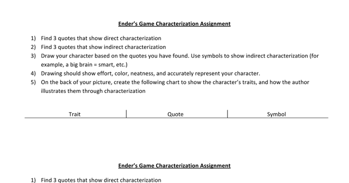 Enders Game Characterization Assignment Google Docs