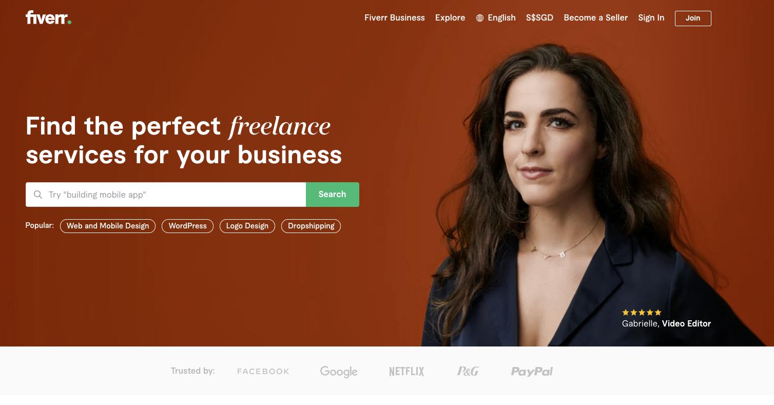 Fiverr.com website homepage.