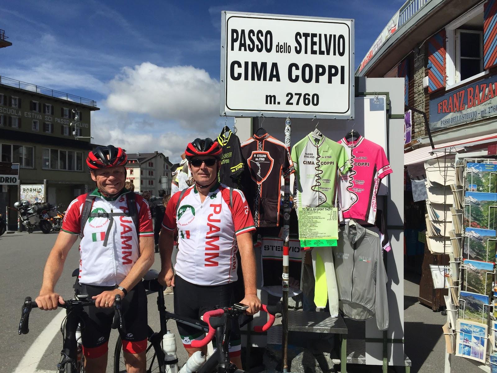 Cycling Passo dello Stelvio - PJAMM Cycling John Johnson and Bill Cappobianco at the Passo sign