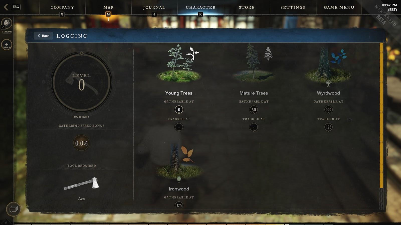 New world Logging skill