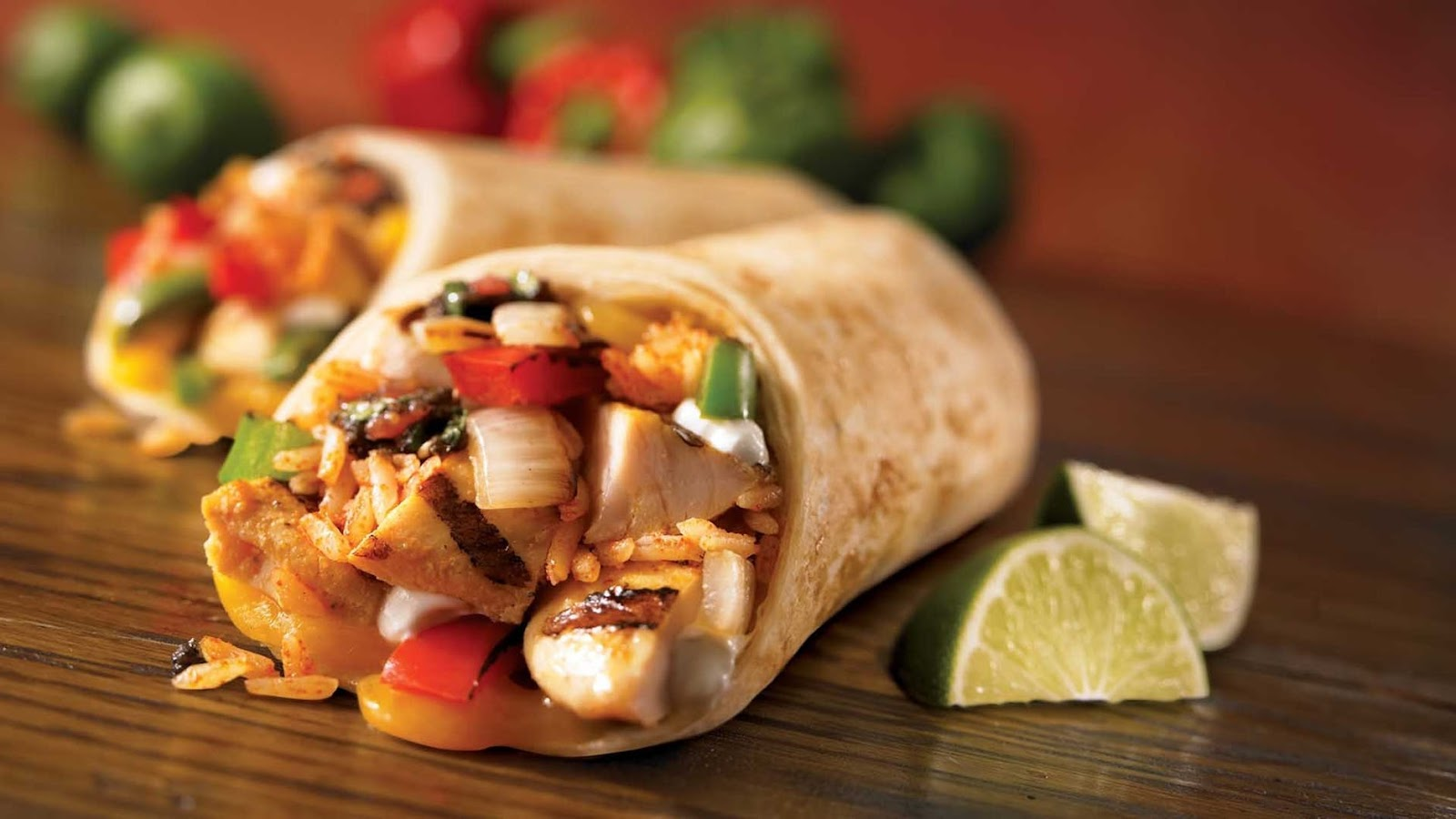 close-up of two burritos