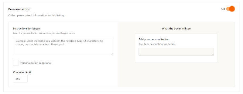 Customization and variation options for Etsy listings