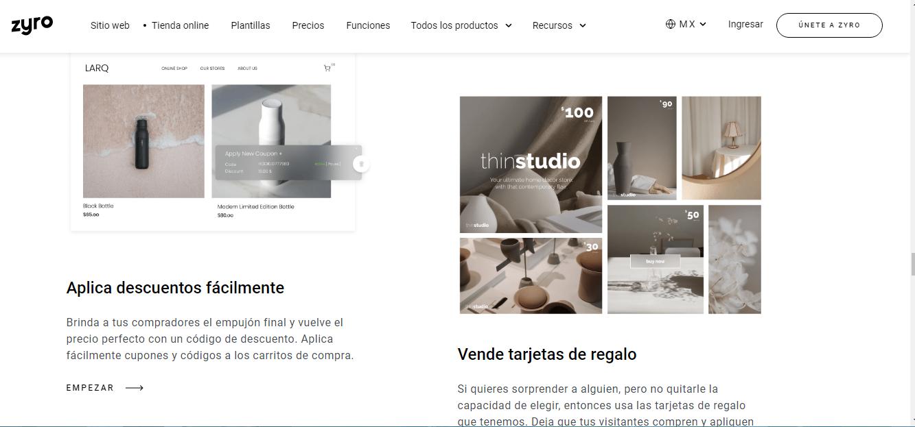 Funciones de la tienda online de Zyro