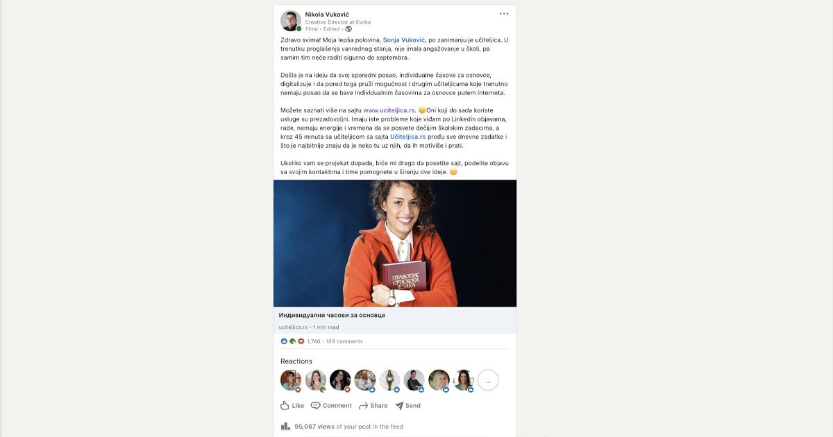linkedin-objava-za-uciteljica-projekat