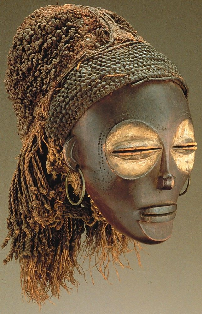 Female (Pwo Mask). Chokwe Peoples. Wood, fiber, pigment, metal.