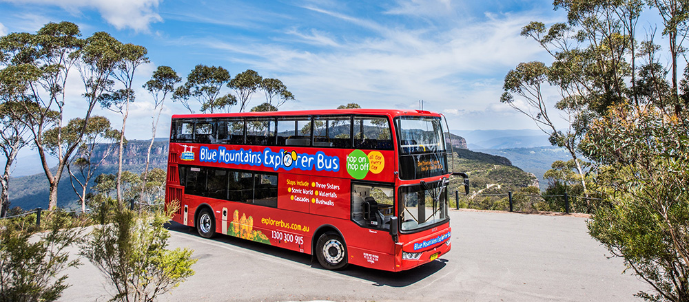 school holidays in the Blue Mountains, hop on hop off explorer bus