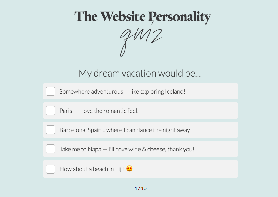 website personality quiz question about dream vacation