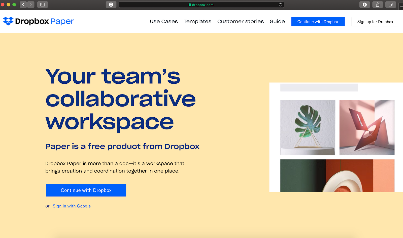 dropbox paper homepage