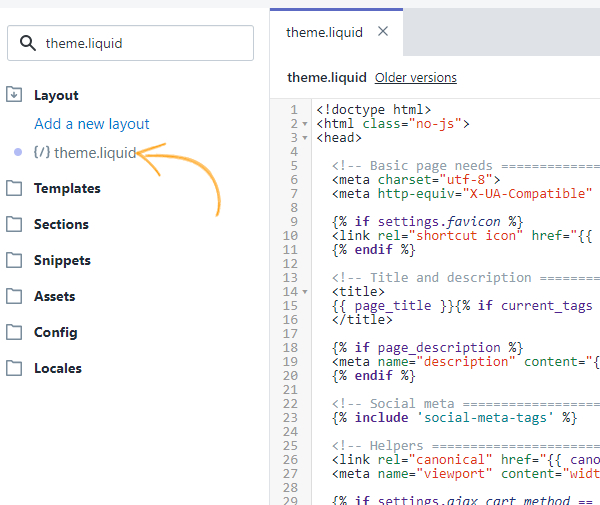 Click on 'theme.liquid' content box to paste your ProProfs Chat installation code