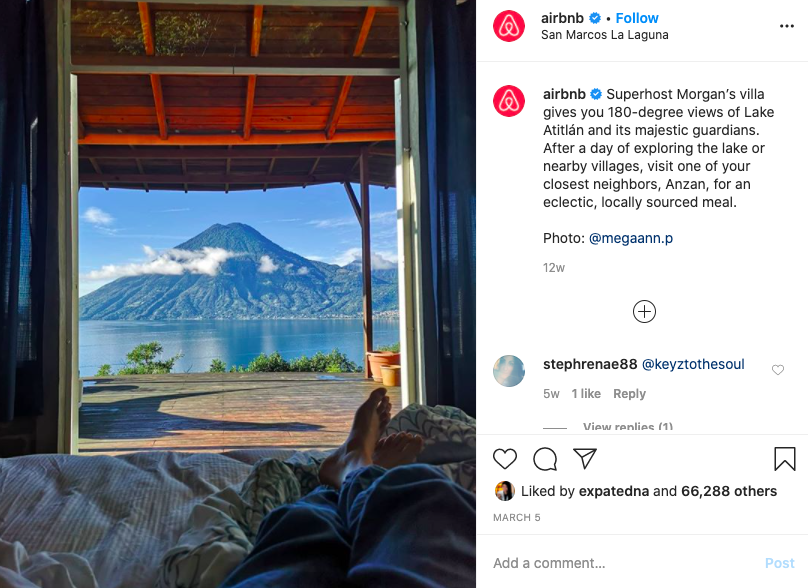 User-generated content example from Airbnb for social media campaign ideas