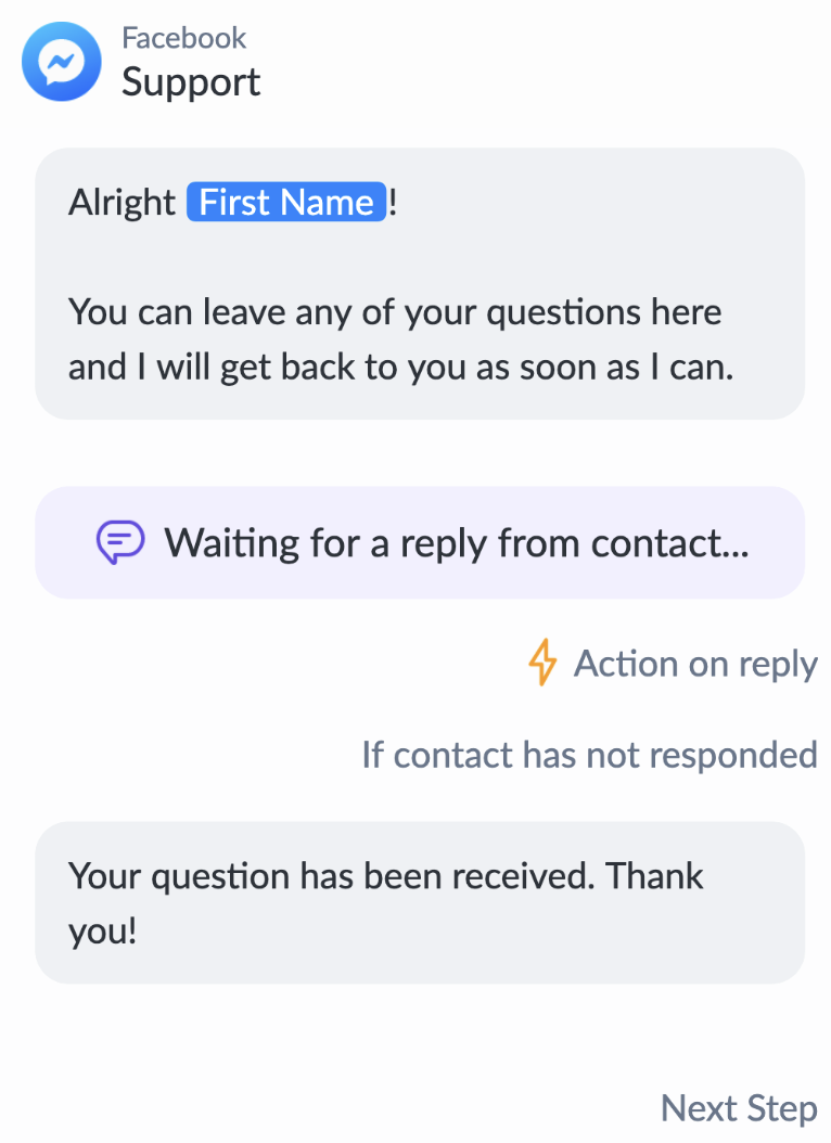 Customer support message